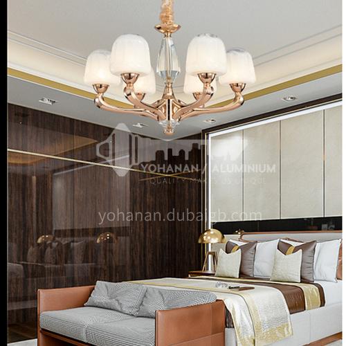 American simple all-copper European chandelier high-end light luxury bedroom restaurant hotel living room lampBQ-7190