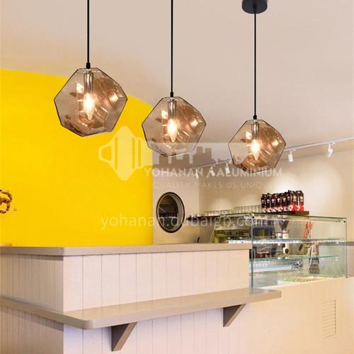 Dining chandelier modern minimalist three-head bar table lamp dining room lighting crystal lampshade Nordic creative single-head glass chandelierHLBLDD-012