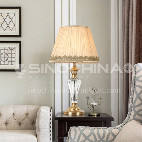 European style crystal lamp, warm bedroom bedside living room table lamp-MXDS-E9930