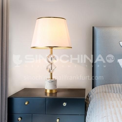 European style bedroom retro decoration bedroom bedside lamp living room copper villa crystal lamp-MXDS-E9964