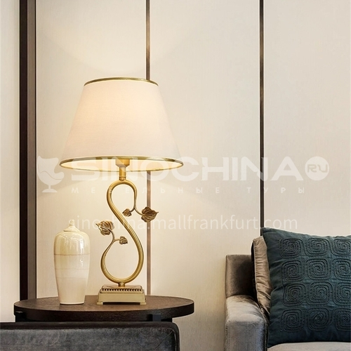 European style simple fabric crystal table lamp, creative luxury and warm bedroom bedside lamps-MXDS-E9981
