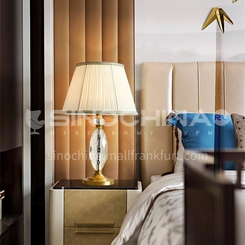 European style copper bedroom bedside crystal table lamp European style living room simple warm and romantic lamps-MXDS-E9983