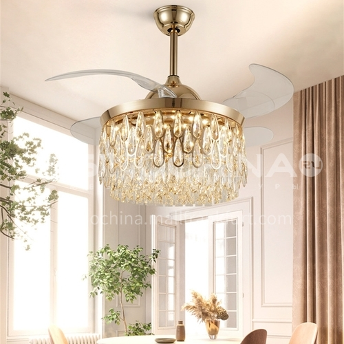 Crystal invisible fan light dining room European style living room bedroom luxury atmospheric lighting-DSYF-F2863