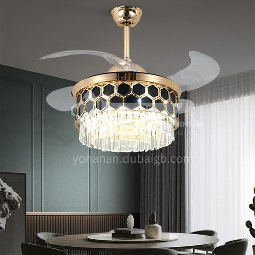 American simple crystal invisible fan lamp European style living room silent bedroom luxury lamps-DSYF-F2874