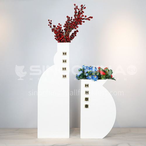 Bright white wooden floral ornaments, metal embellishment piano paint craft vase, home decoration FX-F0615