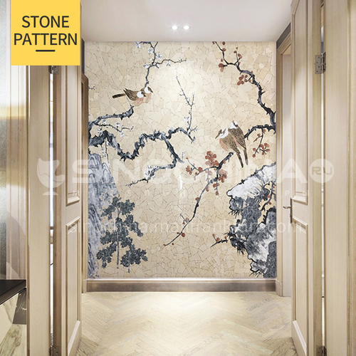 Natural marble Chinese flower and bird landscape muralist mosaic M-5