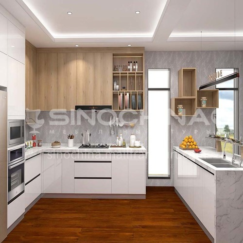 Modern style UV lacquer simple design white kitchen cabinet GK-020
