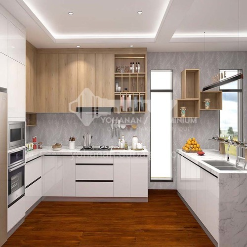 Modern style UV lacquer simple design white kitchen cabinet GK-020