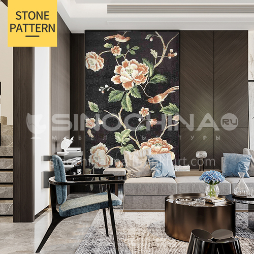 Natural marble classical style handmade mural mosaic M-19