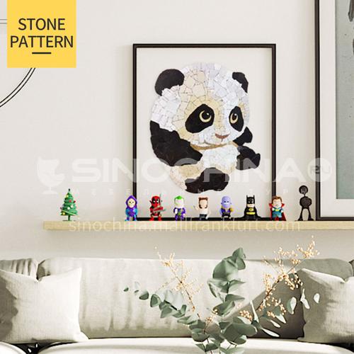 Natural marble black and white panda handmade mural mosaic M-26