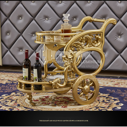 LEW-Dining Cart European-style luxury solid wood bright paint hand-push dining car