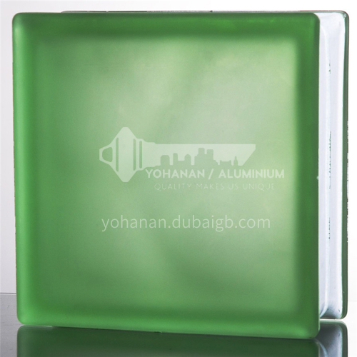 Frosted green cloudy glass brick