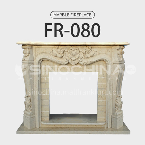 Natural stone European classical style fireplace FR-080
