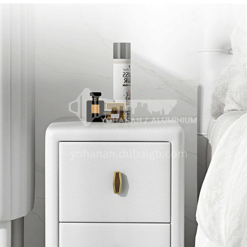 FH-23001- Light luxury and simple style, high-quality leather, hardware handle, metal tripod, light luxury and simple bedside table