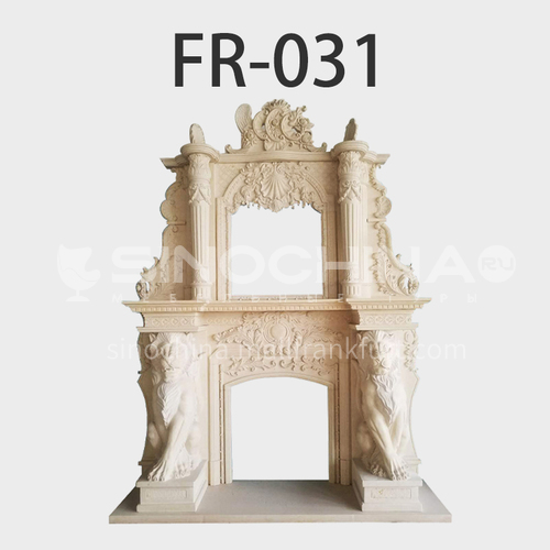 Natural stone European luxury style fireplace FR-031