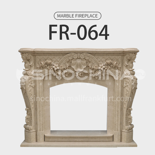 Natural stone European classical style fireplace FR-064