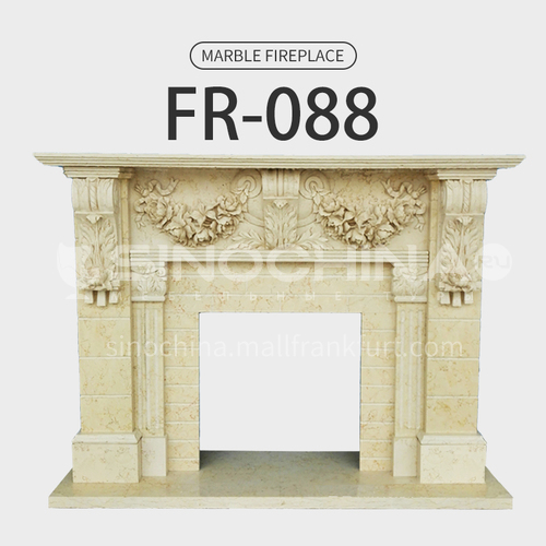 Natural stone European classical style fireplace FR-088