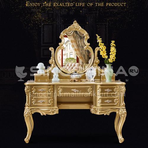 LEW-02- European style, solid wood carving, storage drawers, European luxury dressing table