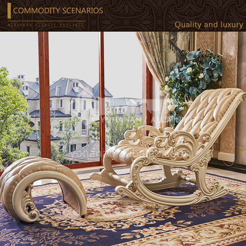 LEW-Rocking chair-European style, carved high-end patterns, rocking chair recliner, nap chair, rocking chair, adult easy chair, elderly chair, European solid wood rocking chair