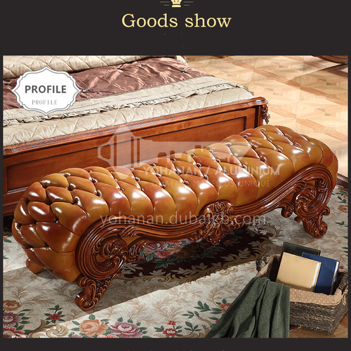 YRM-J- 104- European classical style, rubber wood carving, leather, solid wood frame, European classical bed end stool