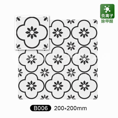 Nordic black and white small kitchen wall tiles art flower tile bathroom balcony floor tiles-B006 200mm*200mm