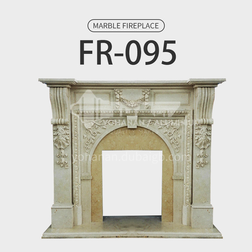 Natural stone European classical style fireplace FR-095