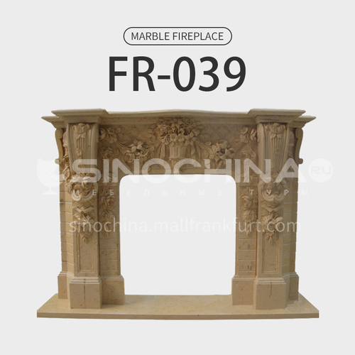 Natural stone European luxury style fireplace FR-039