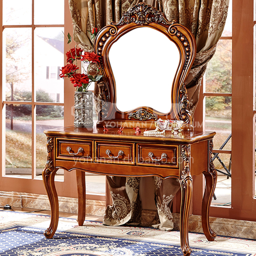 GH-01- European classical style, Thailand imported rubber wood, hand-carved, metal handle, European classical dressing table
