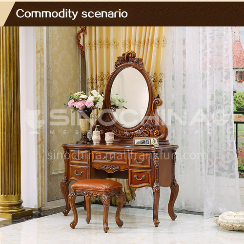 GH-1102- European luxury classic style, solid wood carving, solid wood dressing table, matching makeup mirror, European classic dressing table