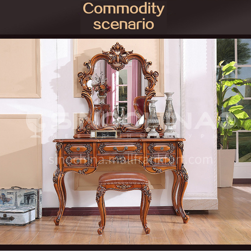 GH-2065- European luxury classic style, solid wood, princess dressing table, makeup mirror, makeup stool, European classic dressing table