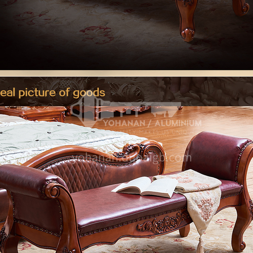 GH-F03- European classical style, first layer cowhide, solid wood material, bed foot bench, bedside shoe changing stool