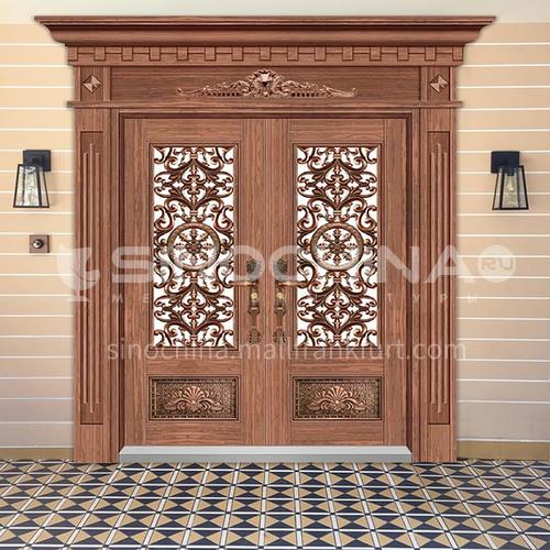 304 stainless steel door red bronze luxury Roman column double door
