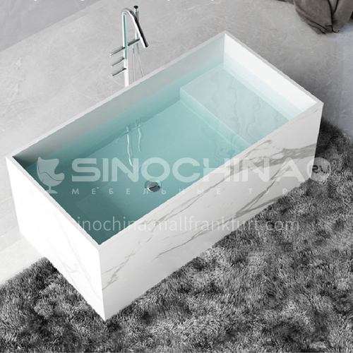 Artificial stone   rectangle shape   freestanding   artificial stone    bathtub