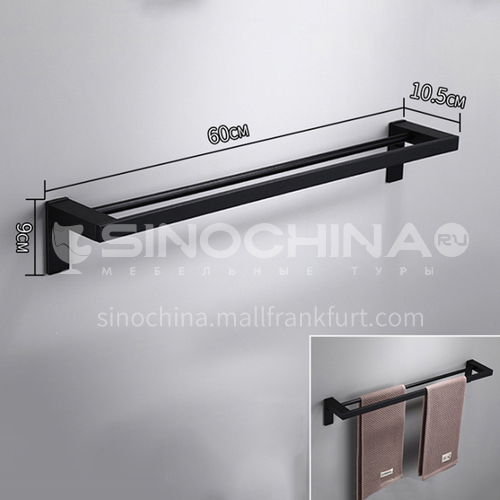 304 stainless steel black single rod towel rack  LW-QQ021