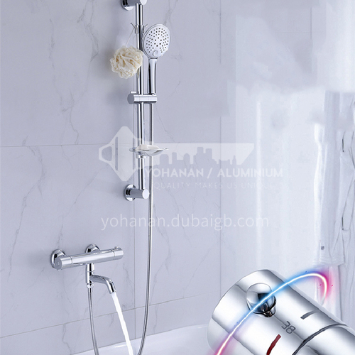 Silver simple constant thermostat shower head LW-TS