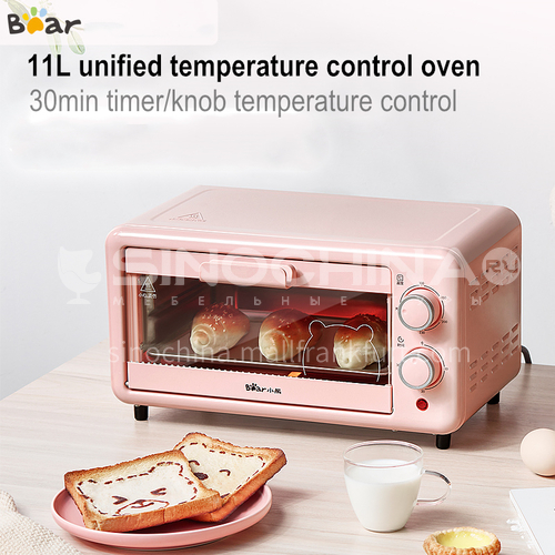 Bear electric oven household mini multi-function cake automatic baking bread barbecue pizza 11 liters small oven DQ000518