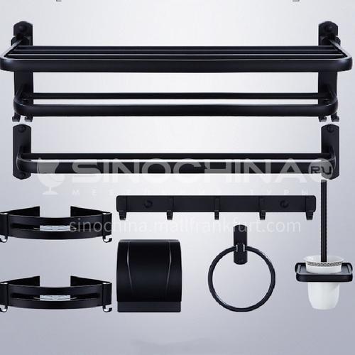 Bathroom seven - piece bathroom accessories  aluminum black LW-br-01