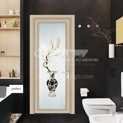 1.4mm Aluminium profile toilet swing door with handle Modern design for house building waterproof