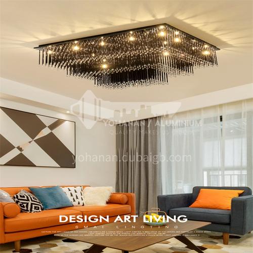 Crystal lamp living room modern led ceiling lamp bedroom living room crystal lamp rectangular lamp GD-1226