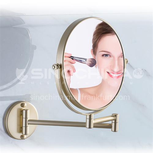 Bathroom hotel retractable copper golden makeup mirror jsj-1306G