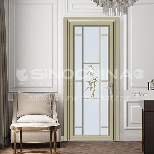 1.2mm modern aluminum alloy indoor glass swing door toilet door with decorative flower style