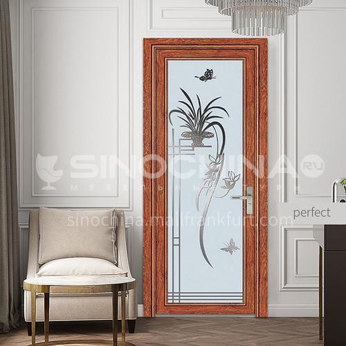 1.2mm cost-effective modern aluminum alloy indoor glass swing door toilet door with decorative flower glass style