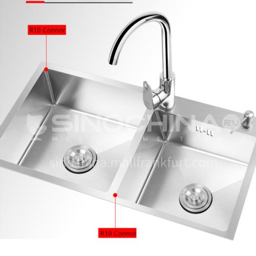 304 stainless steel handmade kitchen sink double basin