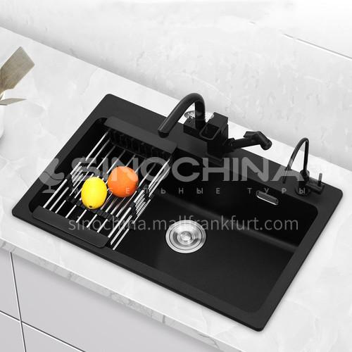Black color quartz sink single sink kitchen dish basin single basin BP01