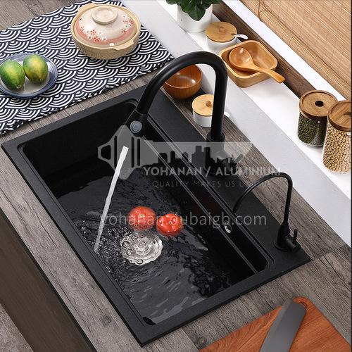 Black quartz sink single sink kitchen dish basin single basin  D10