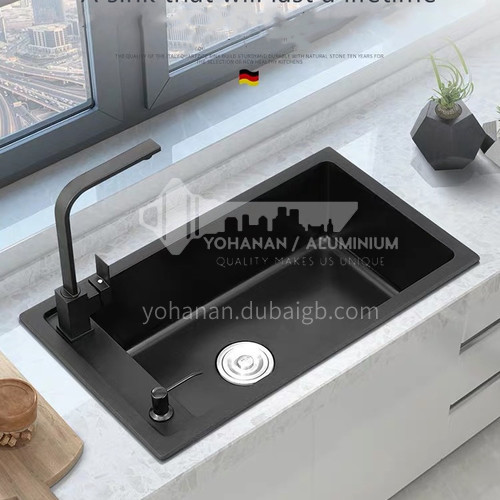 Black color quartz sink single sink kitchen dish basin single basin D11