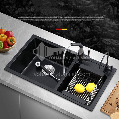 Black quartz sink double sink double sink kitchen dish basin double basin HS002