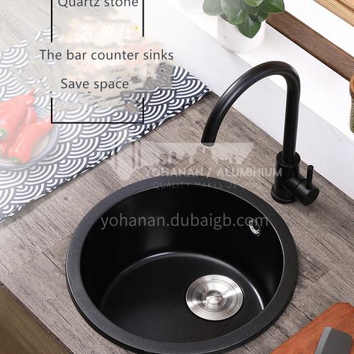 Black round quartz sink single sink kitchen dish basin single basin  Y1