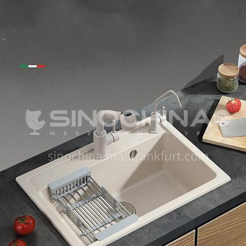 Oat-colored quartz sink single sink kitchen dish basin single basin YMB001