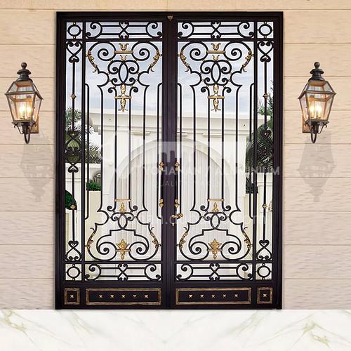 T Hot-dip galvanized European style wrought iron gate courtyard gate wrought iron gate villa gate household outdoor double door garden gate 3